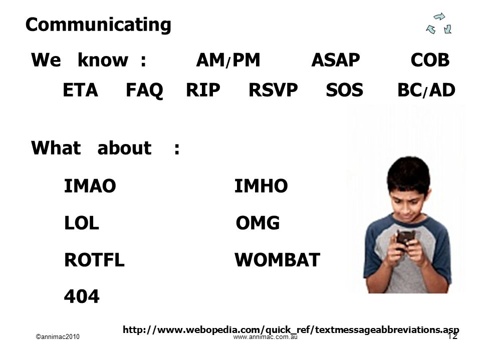 ©annimac2010 www.annimac.com.au 12 Communicating We know : AM / PM ASAP COB ETA FAQ RIP RSVP SOS BC / AD What about : IMAO IMHO LOL OMG ROTFL WOMBAT 404 http://www.webopedia.com/quick_ref/textmessageabbreviations.asp