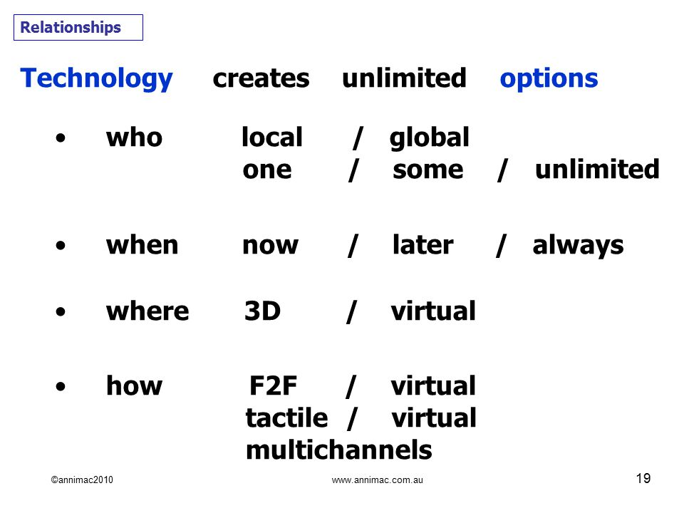 ©annimac2010 www.annimac.com.au 19 Technology creates unlimited options who local / global one / some / unlimited when now / later / always where 3D / virtual how F2F / virtual tactile / virtual multichannels Relationships