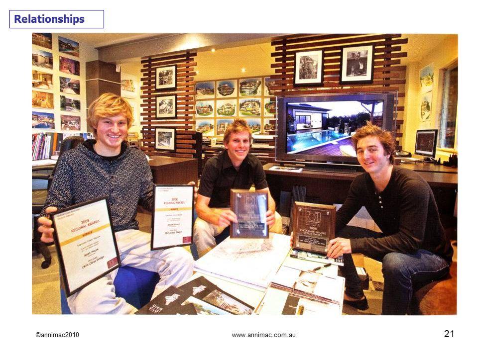 ©annimac2010 www.annimac.com.au 21 Relationships