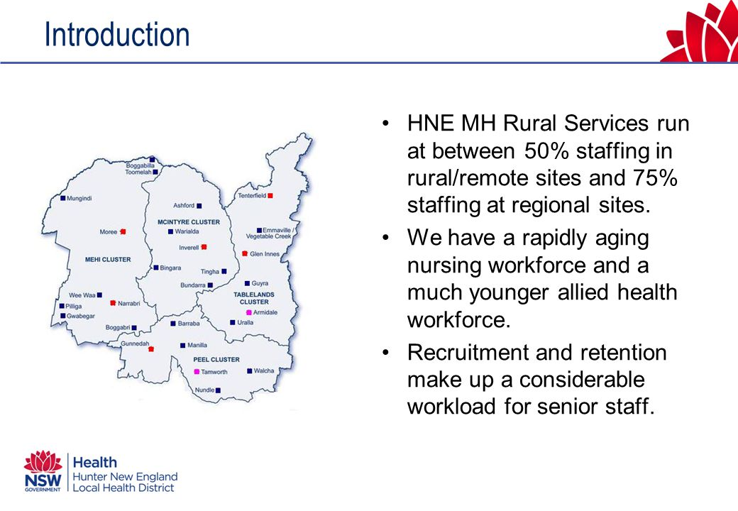 Introduction HNE MH Rural Services run at between 50% staffing in rural/remote sites and 75% staffing at regional sites.