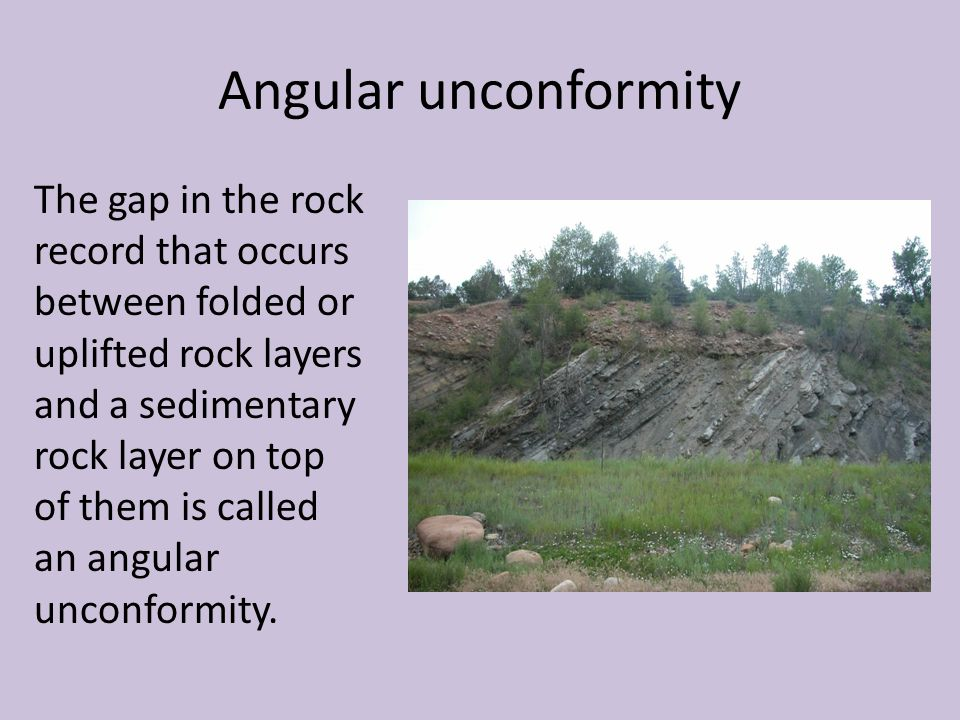 Angular unconformity The gap in the rock record that occurs between folded or uplifted rock layers and a sedimentary rock layer on top of them is call