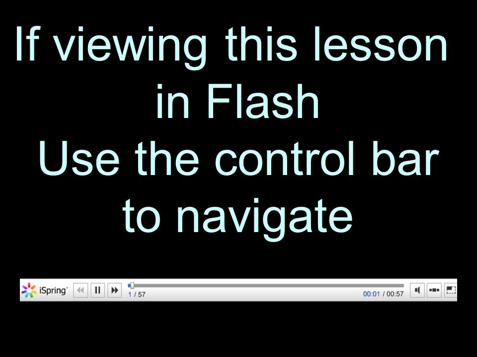 3 If viewing this lesson in Flash Use the control bar to navigate