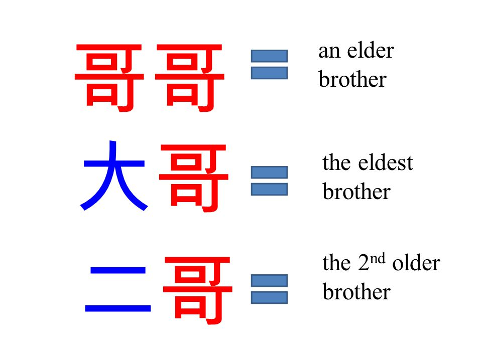 哥哥 大哥 an elder brother the eldest brother 二哥 the 2 nd older brother