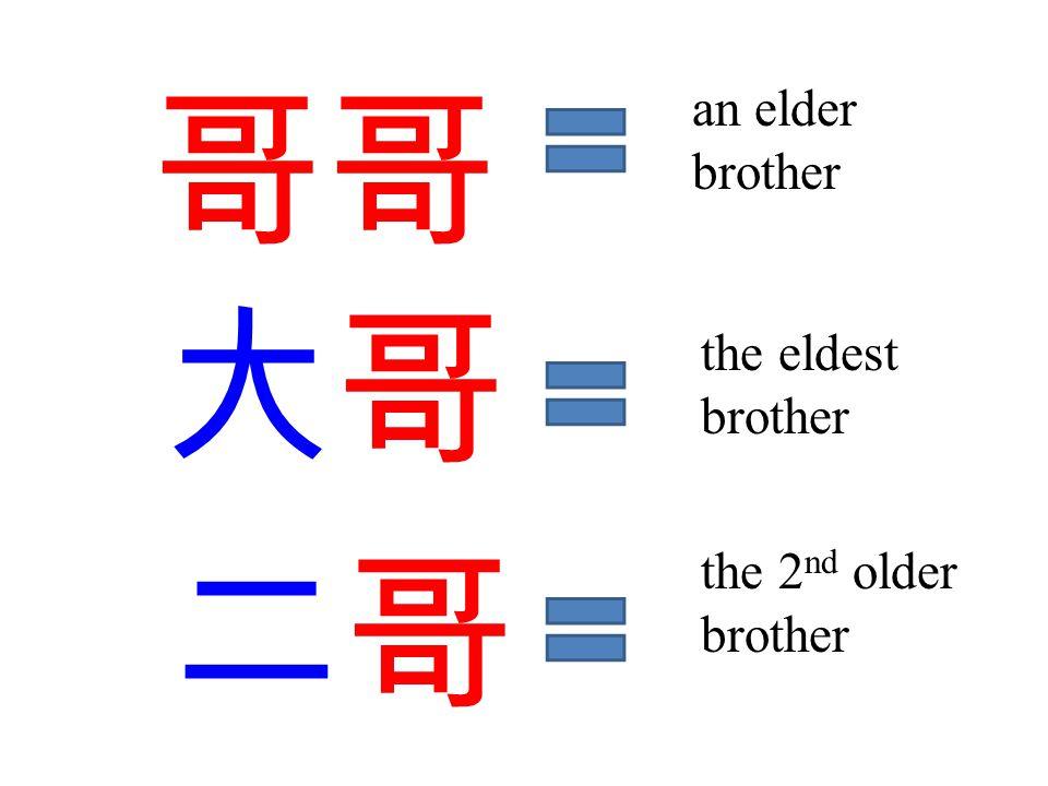 三哥三哥 四哥 the 3rd older brother the 4th older brother 小哥 the youngest older brother