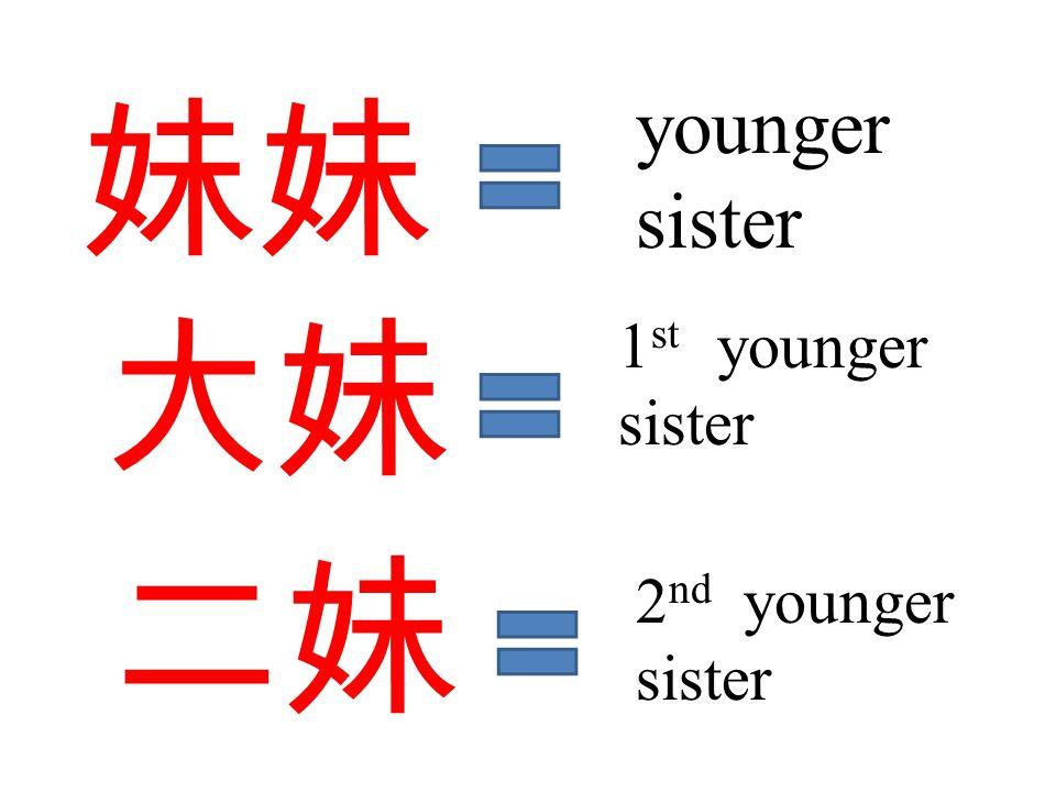 妹妹 大妹 younger sister 1 st younger sister 二妹 2 nd younger sister