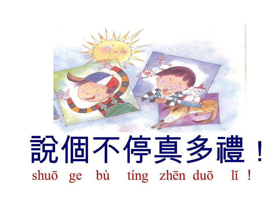說個不停真多禮 ! shuō ge bù tíng zhēn duō lǐ !