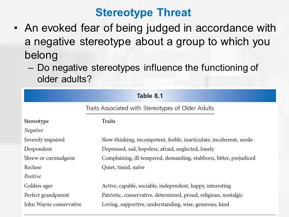 Stereotype Threat An evoked fear of being judged in accordance with a negative stereotype about a group to which you belong –Do negative stereotypes influence the functioning of older adults?