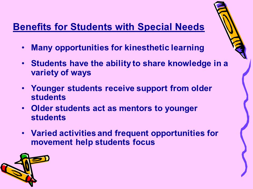Benefits for Students with Special Needs Many opportunities for kinesthetic learning Students have the ability to share knowledge in a variety of ways Younger students receive support from older students Older students act as mentors to younger students Varied activities and frequent opportunities for movement help students focus