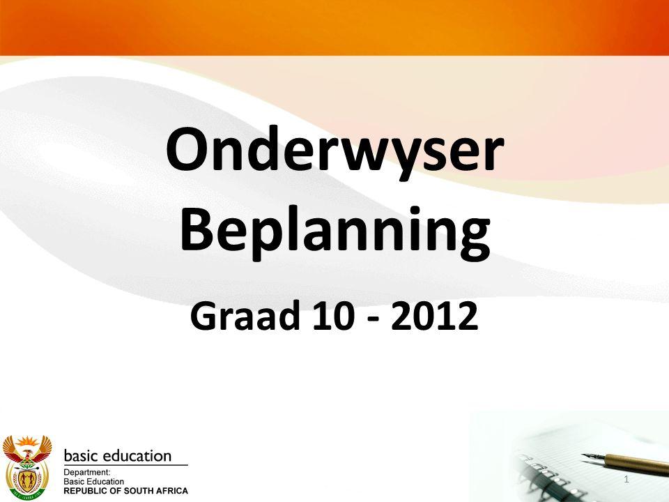 Onderwyser Beplanning Graad 10 - 2012 1