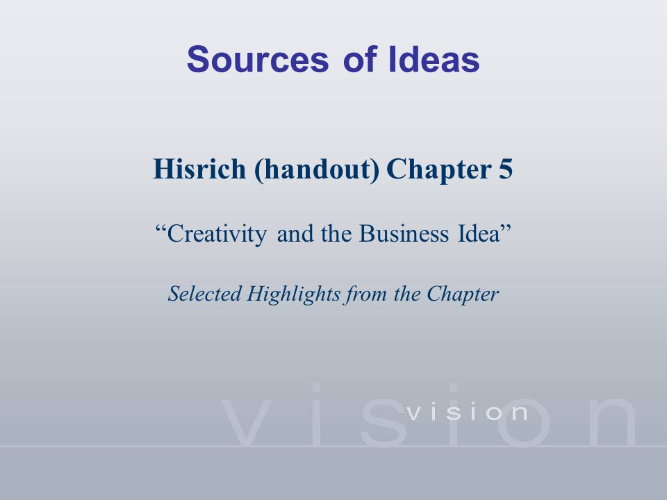 "Sources of Ideas Hisrich (handout) Chapter 5 ""Creativity and the Business Idea"" Selected Highlights from the Chapter"