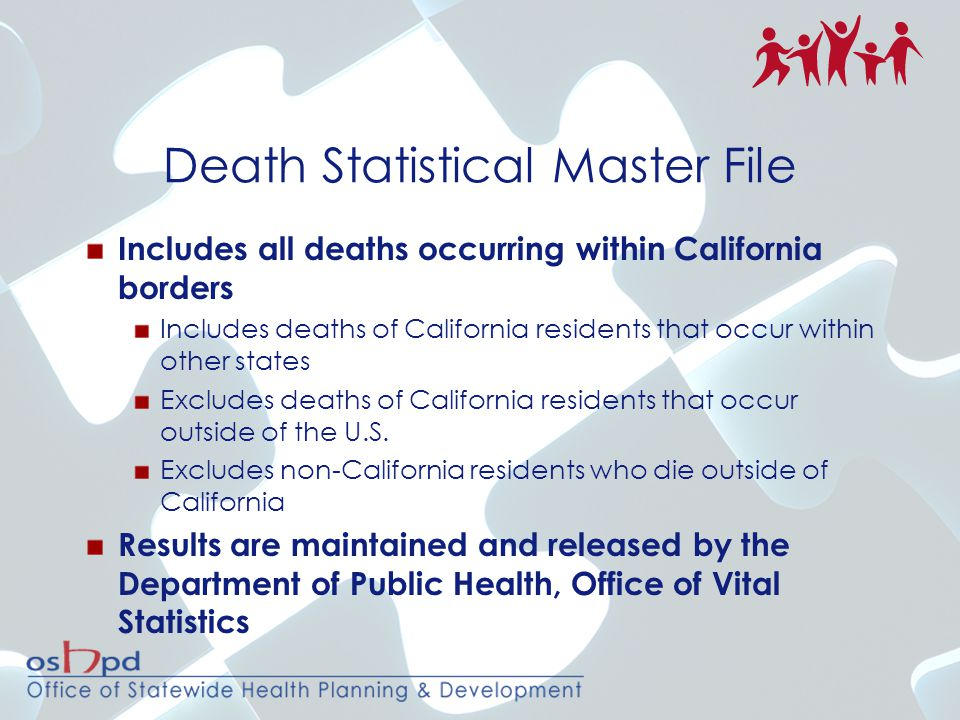 Death Statistical Master File Includes all deaths occurring within California borders Includes deaths of California residents that occur within other states Excludes deaths of California residents that occur outside of the U.S.