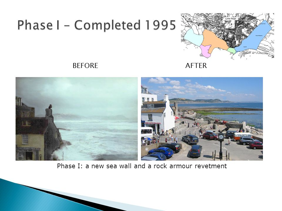 BEFOREAFTER Phase I: a new sea wall and a rock armour revetment