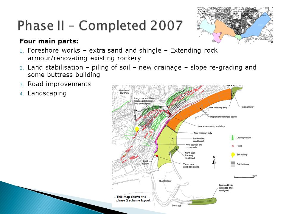 Four main parts: 1. Foreshore works – extra sand and shingle – Extending rock armour/renovating existing rockery 2. Land stabilisation – piling of soi