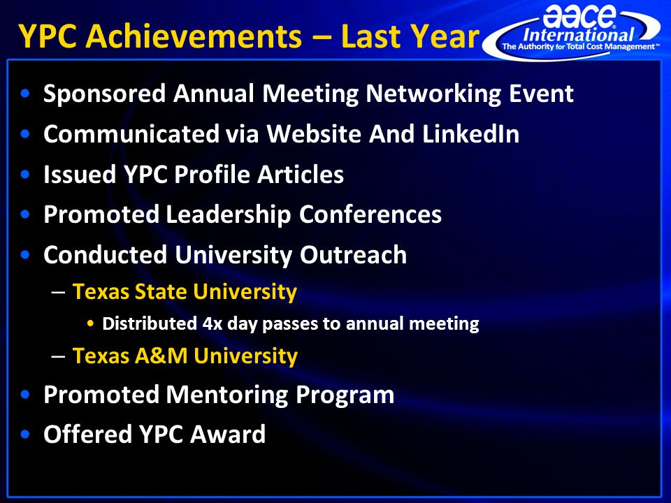 YPC Achievements – Last Year Sponsored Annual Meeting Networking Event Communicated via Website And LinkedIn Issued YPC Profile Articles Promoted Lead