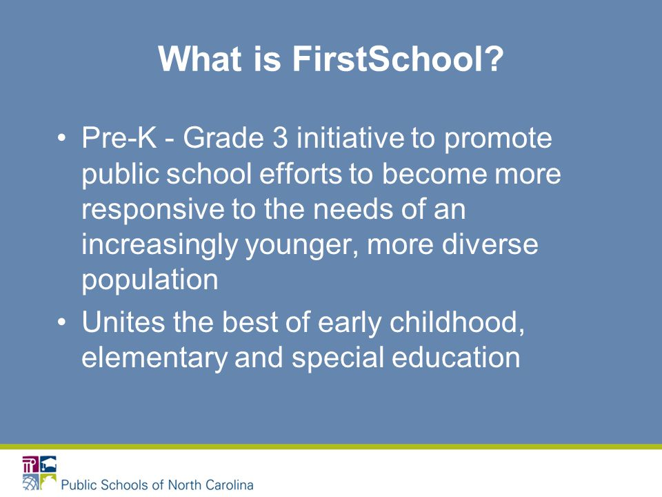 NC Office of Early Learning Programs Even Start Family Literacy Head Start State Collaboration Office More at Four Pre-Kindergarten Program Preschool Exceptional Children Title I Preschool Primary Education