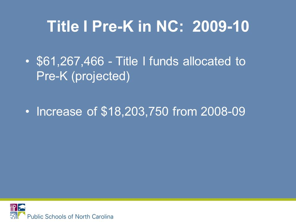 Title I Pre-K in NC: 2009-10 $61,267,466 - Title I funds allocated to Pre-K (projected) Increase of $18,203,750 from 2008-09