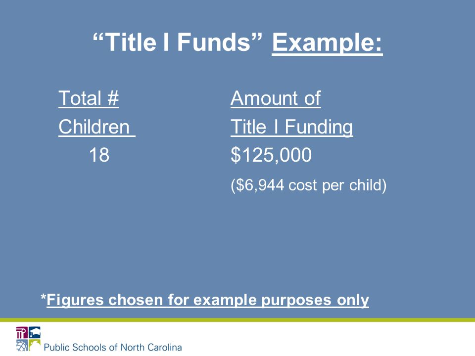 Title I Funds Example: Total # Amount of ChildrenTitle I Funding 18 $125,000 ($6,944 cost per child) *Figures chosen for example purposes only
