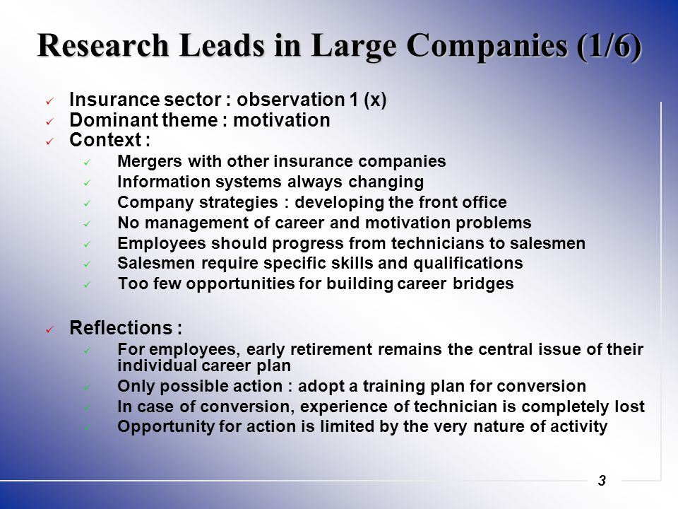 3 Research Leads in Large Companies (1/6) Insurance sector : observation 1 (x) Dominant theme : motivation Context : Mergers with other insurance companies Information systems always changing Company strategies : developing the front office No management of career and motivation problems Employees should progress from technicians to salesmen Salesmen require specific skills and qualifications Too few opportunities for building career bridges Reflections : For employees, early retirement remains the central issue of their individual career plan Only possible action : adopt a training plan for conversion In case of conversion, experience of technician is completely lost Opportunity for action is limited by the very nature of activity