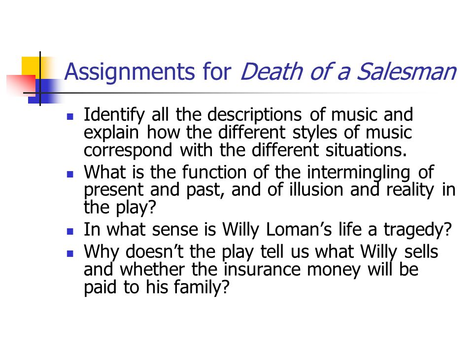 Assignments for Death of a Salesman Identify all the descriptions of music and explain how the different styles of music correspond with the different situations.