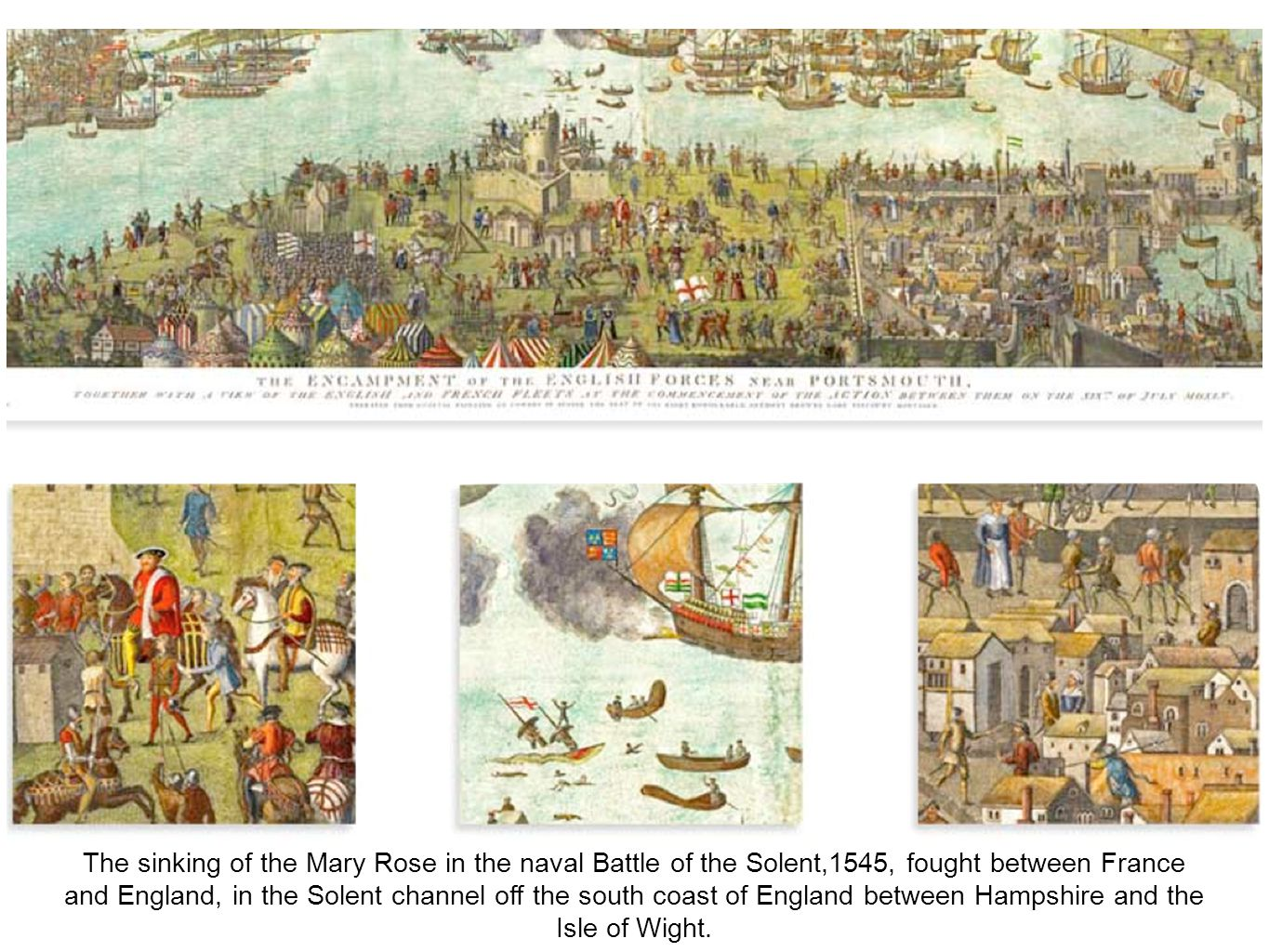 The sinking of the Mary Rose in the naval Battle of the Solent,1545, fought between France and England, in the Solent channel off the south coast of E
