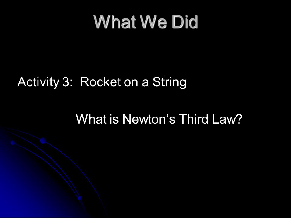 What We Did Activity 3: Rocket on a String What is Newton's Third Law