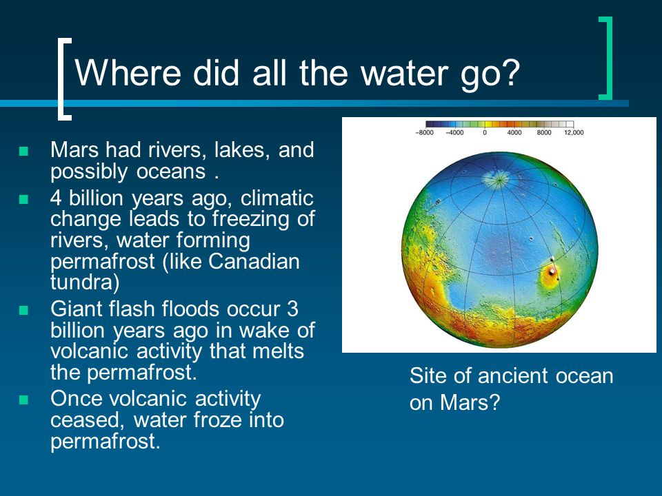 Where did all the water go. Mars had rivers, lakes, and possibly oceans.