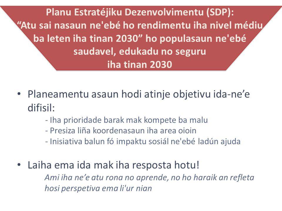 (1) Planu Estratéjiku Dezenvolvimentu (SDP) estabelese orientasaun balun ne ebé luan, no estabelese prioridade- sira.