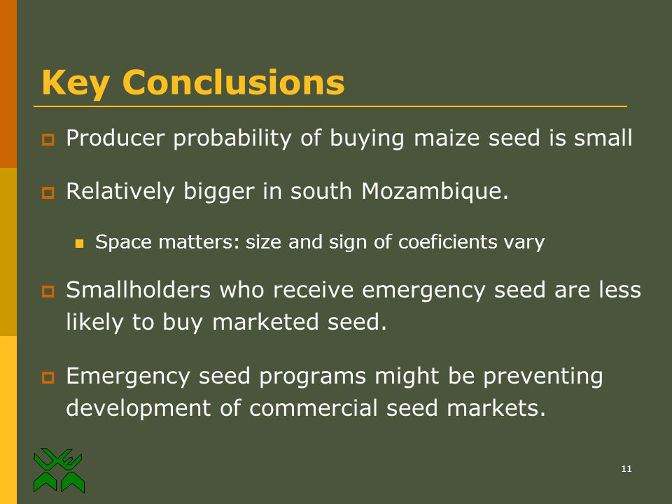 11 Key Conclusions  Producer probability of buying maize seed is small  Relatively bigger in south Mozambique.