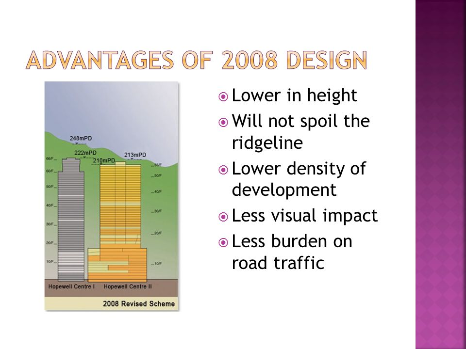  Lower in height  Will not spoil the ridgeline  Lower density of development  Less visual impact  Less burden on road traffic