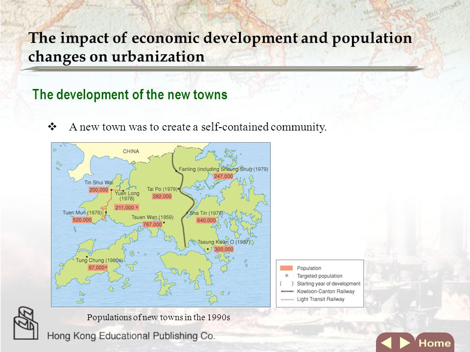 The development of the new towns  A new town was to create a self-contained community. The impact of economic development and population changes on u
