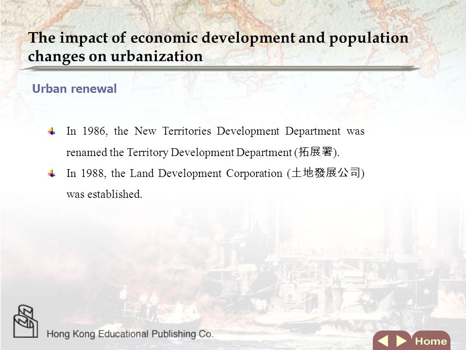 The impact of economic development and population changes on social structure Changing concepts of family Extended family before 1960 Nuclear family since 1960 A nuclear family is made up of parents and children Industrialization Influx of new migrants Post-war baby boom Family planning Free and compulsory education Growth of the industrial sector Individualism Socio-economic changes Development of the New Towns Better quality accommodation