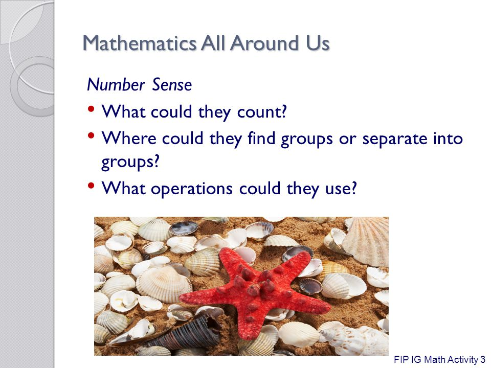Mathematics All Around Us Number Sense What could they count.