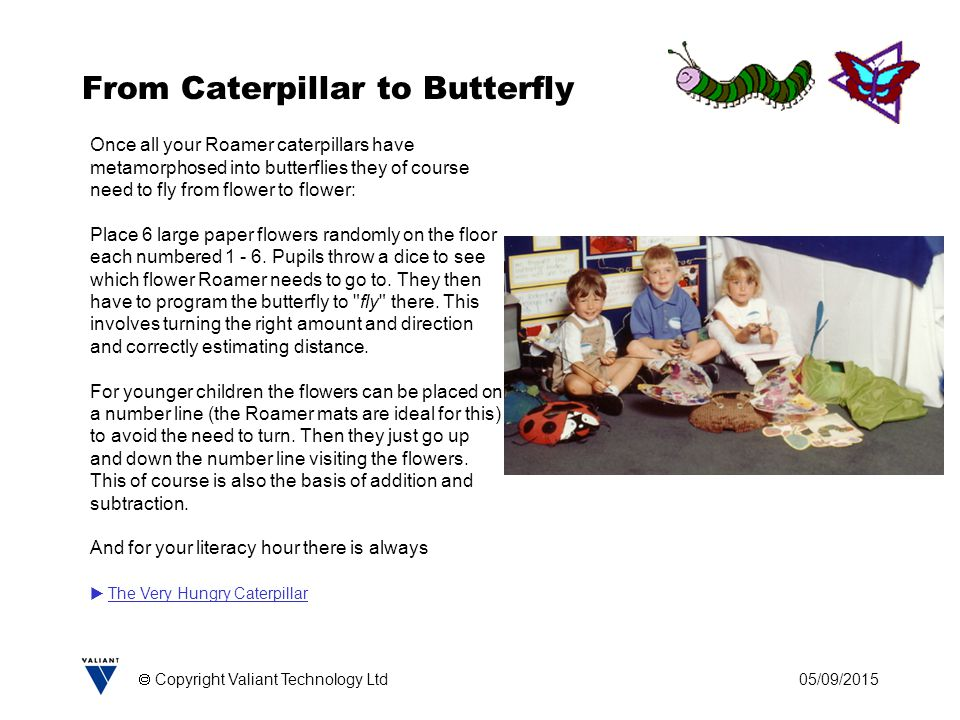 05/09/2015  Copyright Valiant Technology Ltd From Caterpillar to Butterfly Once all your Roamer caterpillars have metamorphosed into butterflies they of course need to fly from flower to flower: Place 6 large paper flowers randomly on the floor each numbered 1 - 6.