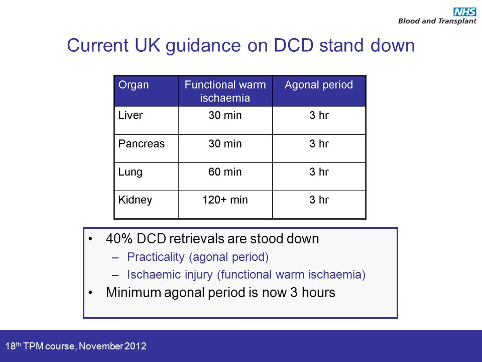 18 th TPM course, November 2012 Current UK guidance on DCD stand down 40% DCD retrievals are stood down –Practicality (agonal period) –Ischaemic injury (functional warm ischaemia) Minimum agonal period is now 3 hours