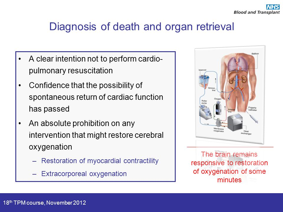 18 th TPM course, November 2012 Diagnosis of death and organ retrieval A clear intention not to perform cardio- pulmonary resuscitation Confidence that the possibility of spontaneous return of cardiac function has passed An absolute prohibition on any intervention that might restore cerebral oxygenation –Restoration of myocardial contractility –Extracorporeal oxygenation The brain remains responsive to restoration of oxygenation of some minutes
