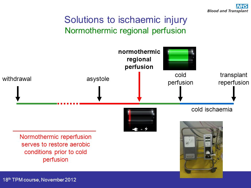 18 th TPM course, November 2012 asystole cold perfusion transplant reperfusion withdrawal cold ischaemia Solutions to ischaemic injury Normothermic regional perfusion normothermic regional perfusion Normothermic reperfusion serves to restore aerobic conditions prior to cold perfusion