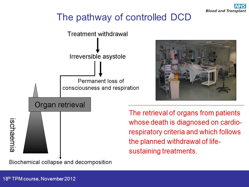 18 th TPM course, November 2012 The pathway of controlled DCD The retrieval of organs from patients whose death is diagnosed on cardio- respiratory cr