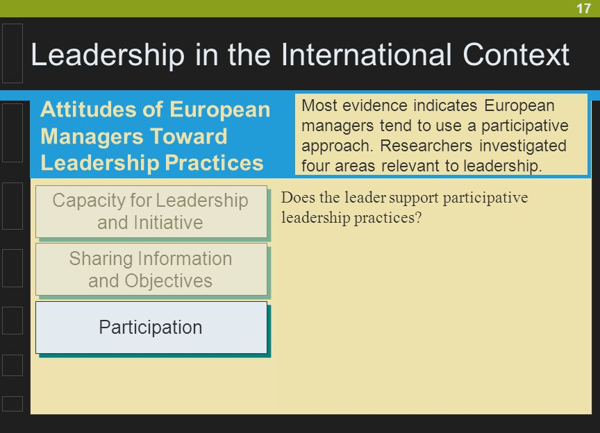 17 Leadership in the International Context Attitudes of European Managers Toward Leadership Practices Capacity for Leadership and Initiative Sharing I