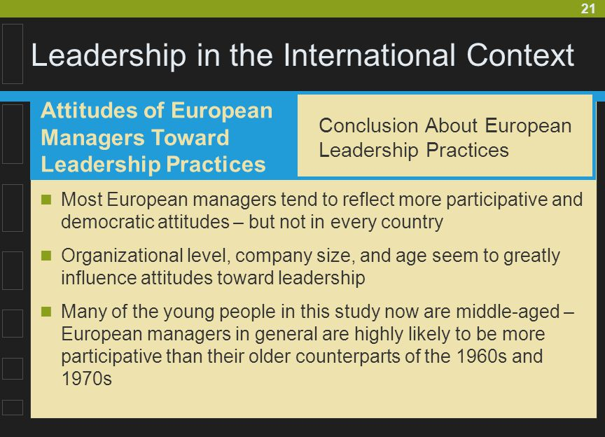 21 Leadership in the International Context Most European managers tend to reflect more participative and democratic attitudes – but not in every count