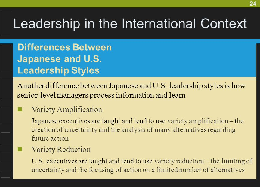 24 Leadership in the International Context Another difference between Japanese and U.S. leadership styles is how senior-level managers process informa
