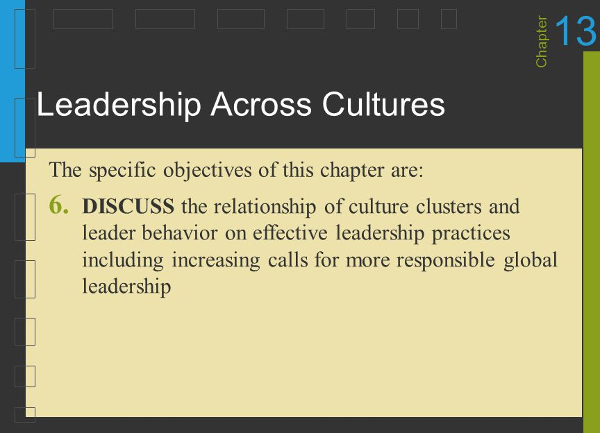 Chapter 13 Leadership Across Cultures 6. DISCUSS the relationship of culture clusters and leader behavior on effective leadership practices including