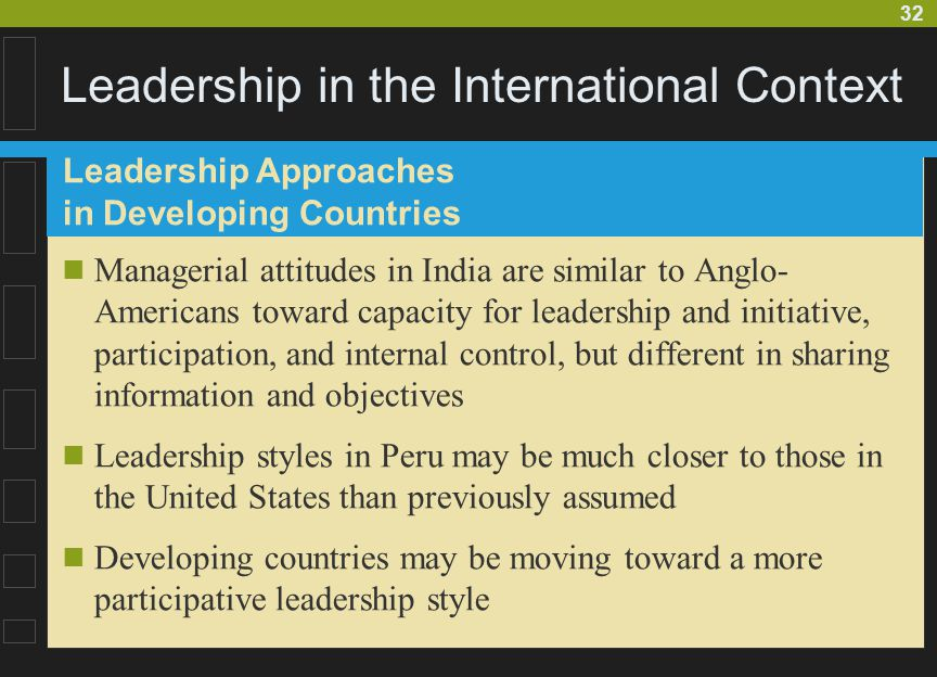 32 Leadership in the International Context Managerial attitudes in India are similar to Anglo- Americans toward capacity for leadership and initiative