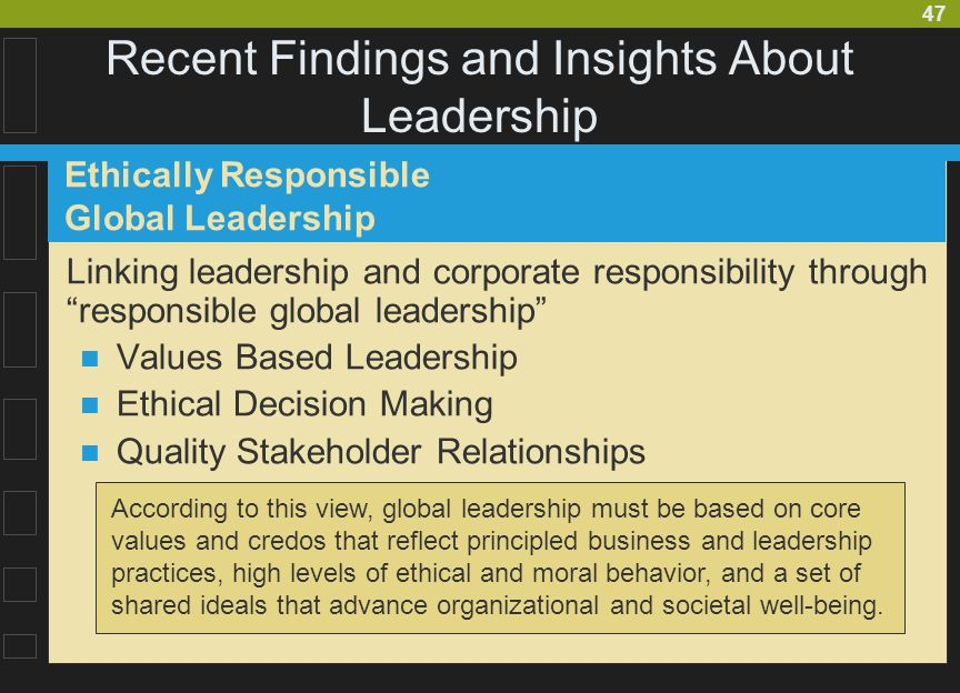 "47 Recent Findings and Insights About Leadership Linking leadership and corporate responsibility through ""responsible global leadership"" Values Based"