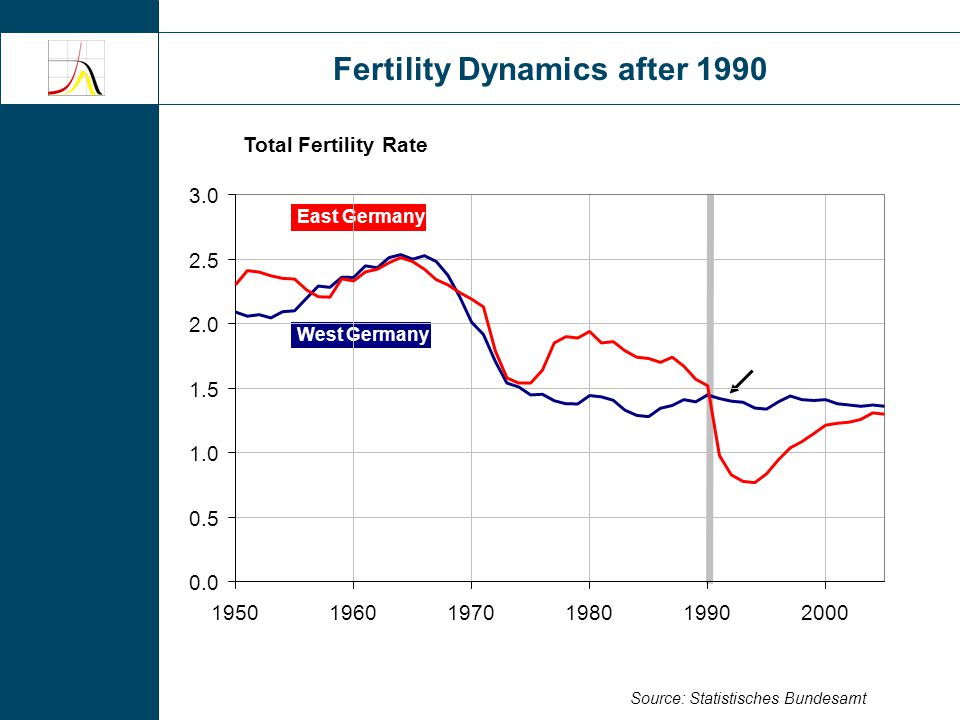 Fertility Dynamics after 1990 Total Fertility Rate Source: Statistisches Bundesamt East Germany West Germany 0.0 0.5 1.0 1.5 2.0 2.5 3.0 195019601970198019902000