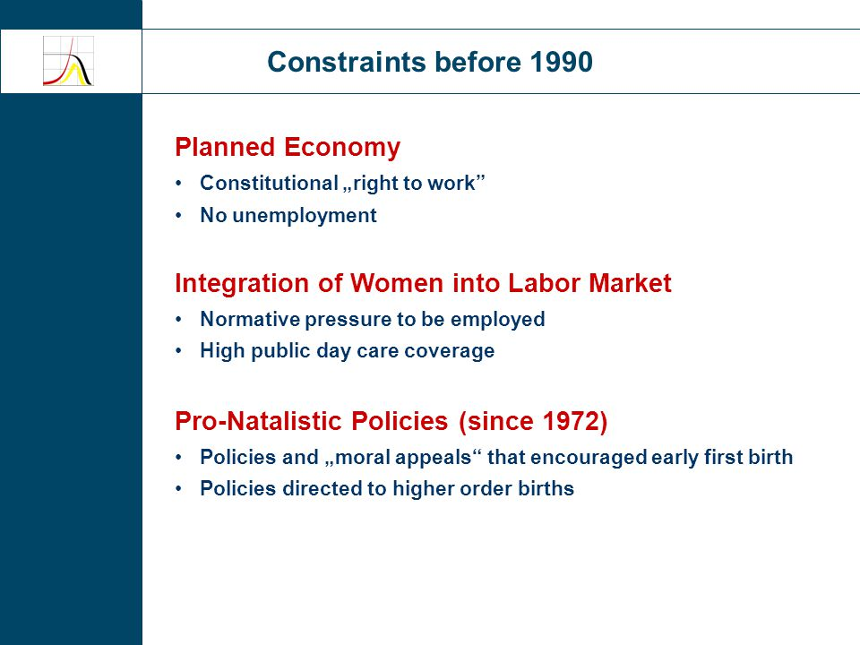 "Constraints before 1990 Planned Economy Constitutional ""right to work No unemployment Integration of Women into Labor Market Normative pressure to be employed High public day care coverage Pro-Natalistic Policies (since 1972) Policies and ""moral appeals that encouraged early first birth Policies directed to higher order births"
