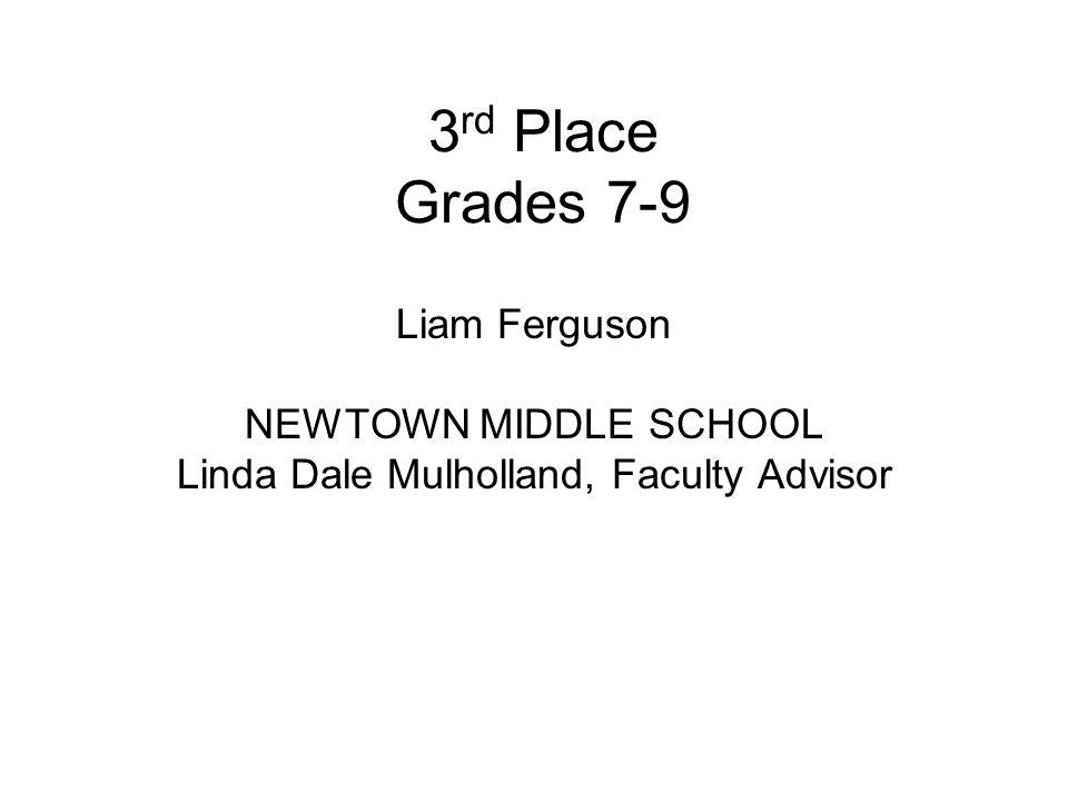 3 rd Place Grades 7-9 Liam Ferguson NEWTOWN MIDDLE SCHOOL Linda Dale Mulholland, Faculty Advisor