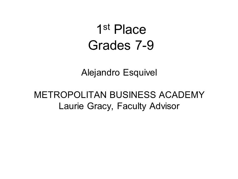 1 st Place Grades 7-9 Alejandro Esquivel METROPOLITAN BUSINESS ACADEMY Laurie Gracy, Faculty Advisor