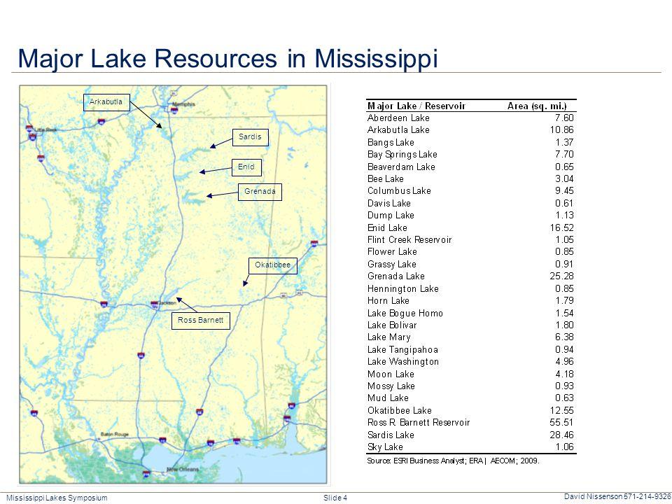 Mississippi Lakes Symposium Slide 4 David Nissenson 571-214-9326 Major Lake Resources in Mississippi Arkabutla Enid Grenada Okatibbee Ross Barnett Sardis