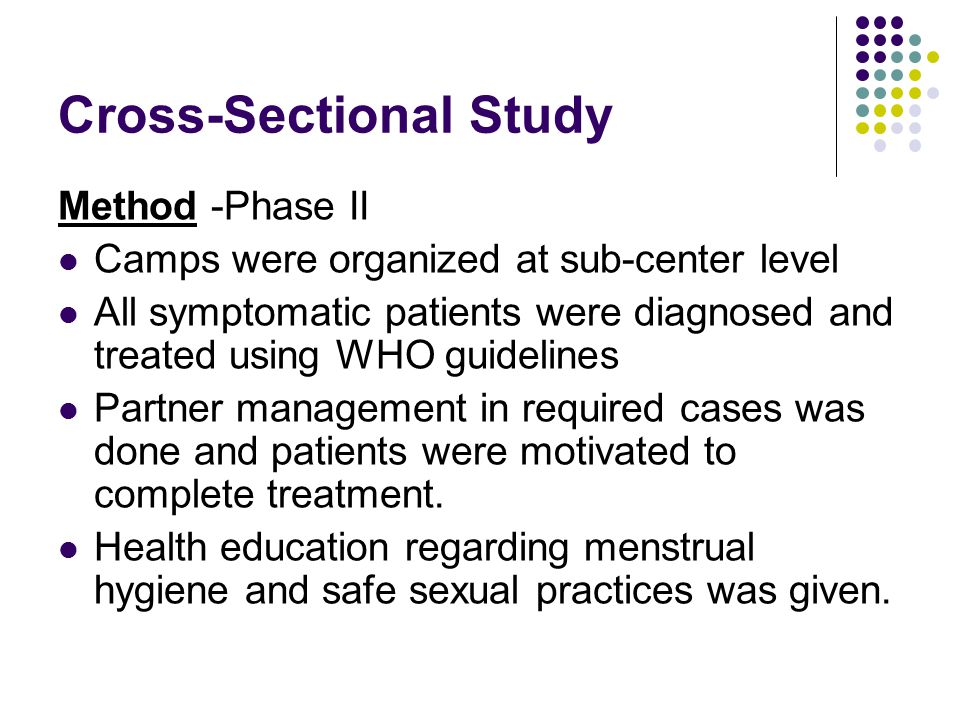 Cross-Sectional Study Method -Phase II Camps were organized at sub-center level All symptomatic patients were diagnosed and treated using WHO guidelines Partner management in required cases was done and patients were motivated to complete treatment.