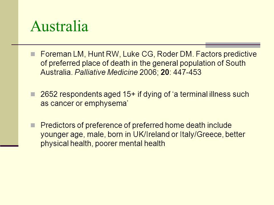 Australia Foreman LM, Hunt RW, Luke CG, Roder DM.